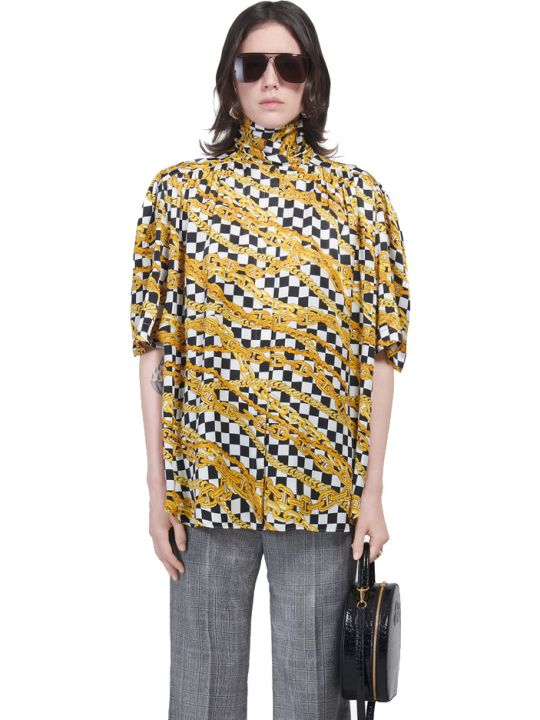 Balenciaga Short Sleeves Scarf Blouse