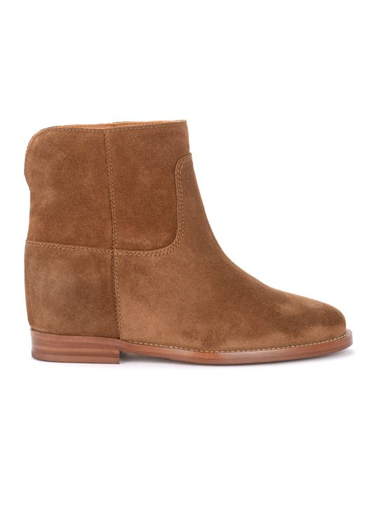Via Roma 15 Ankle Boot In Leather-colored Suede With Slit