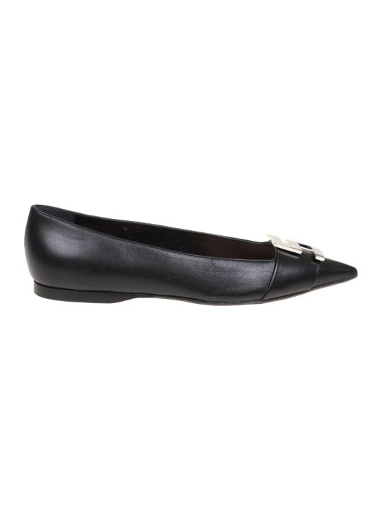 Sergio Rossi Ballerina In Leather With Black Color Logo