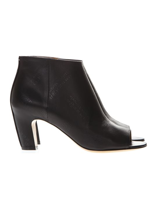 Maison Margiela Black Leather Logoed Open Toe Ankle Boots