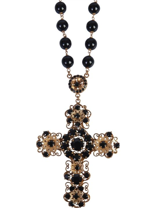 Dolce & Gabbana Rosary Necklace With Cross