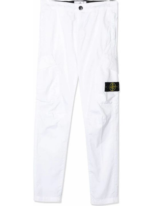 Stone Island White Cotton Blend Trousers
