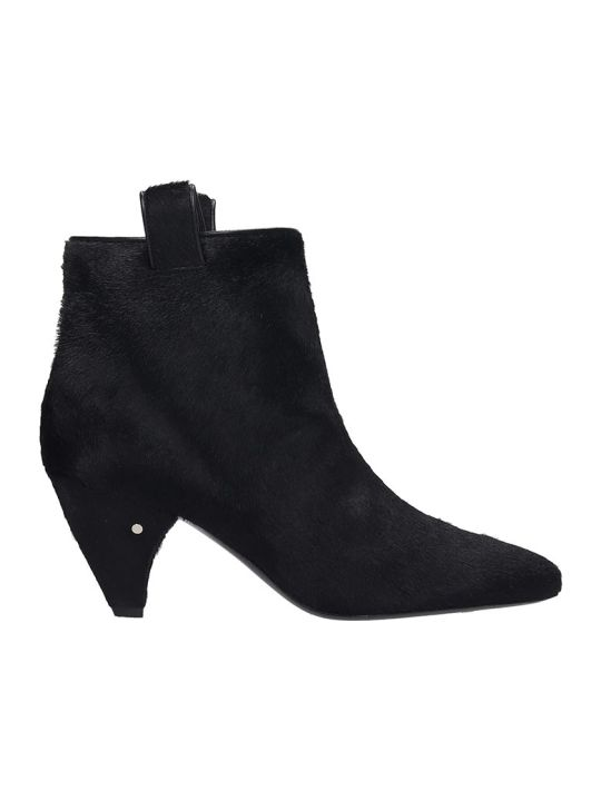 Laurence Dacade Terence High Heels Ankle Boots In Black Pony Skin
