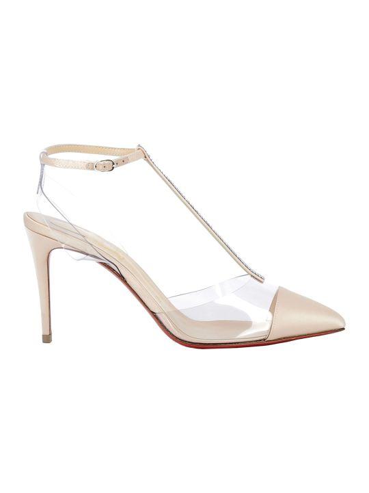 Christian Louboutin Silver Satin/pvc Sandals