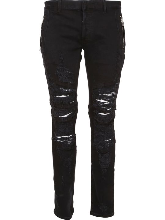 Balmain Zipped Destroyed Jeans