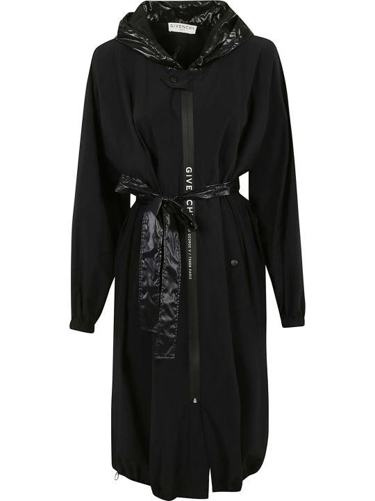 Givenchy Belted Waist Logo Detail Long Windbreaker