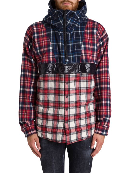 Dsquared2 Check Flannel Anorak With Sherpa Lining