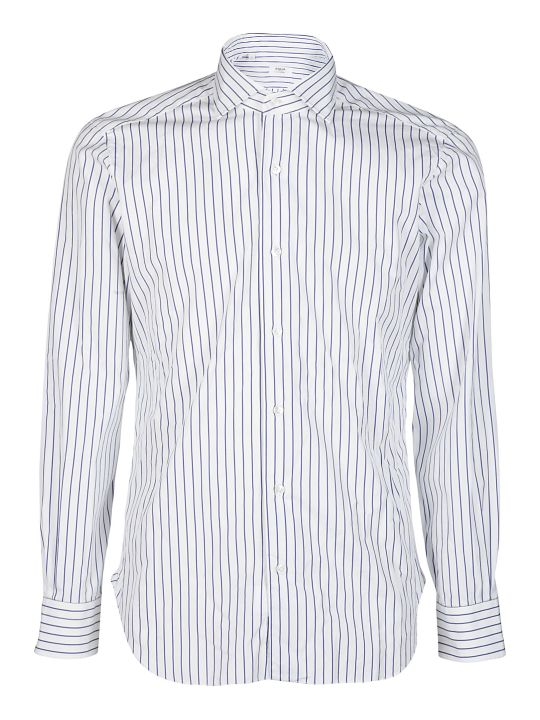 Barba Napoli White And Blue Cotton Shirt