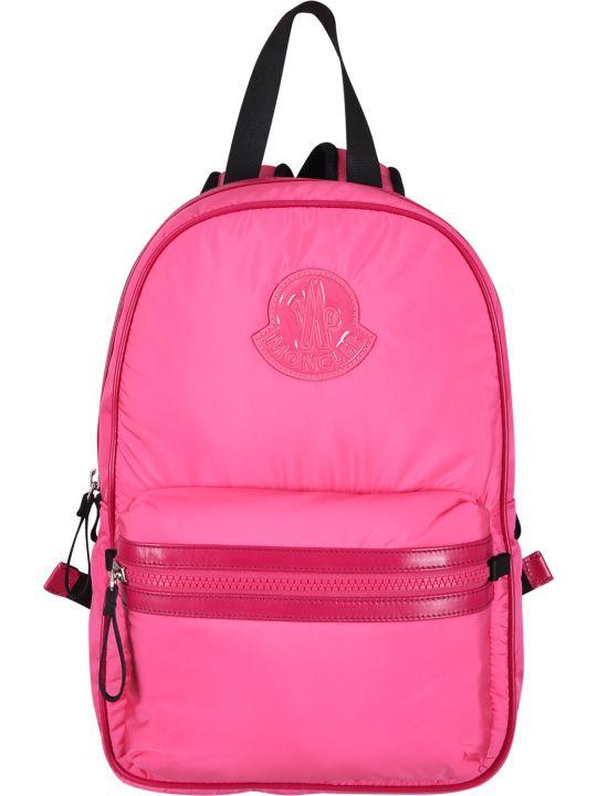 Moncler Fucshia Girl Backpack With Iconic Logo