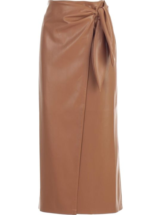 Nanushka Skirt A Line Leather W/knot
