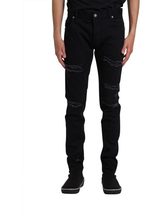 Balmain Destroyed Effect Skinny Jeans
