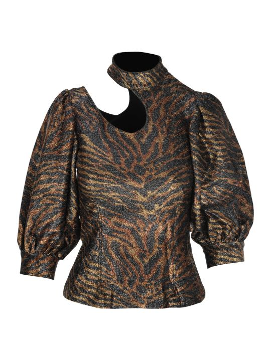 Ganni Tiger Print Cut Out Top