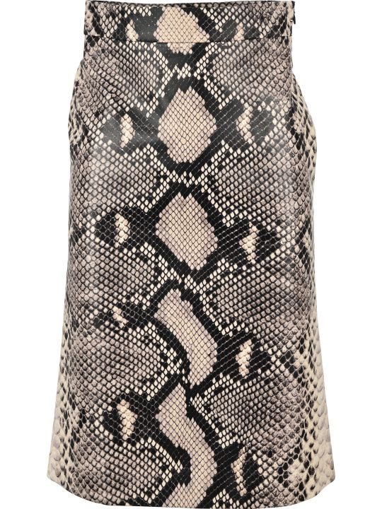 Prada Snake Effect Leather Skirt