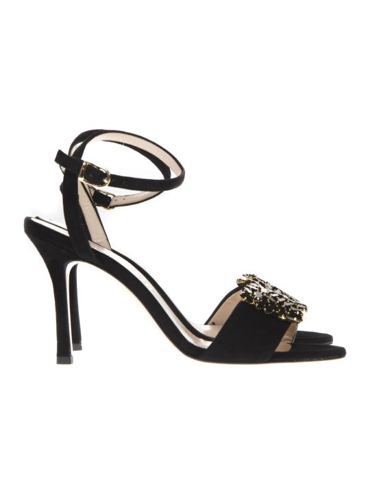 Marc Ellis Black Suede Gems Inserts Sandals