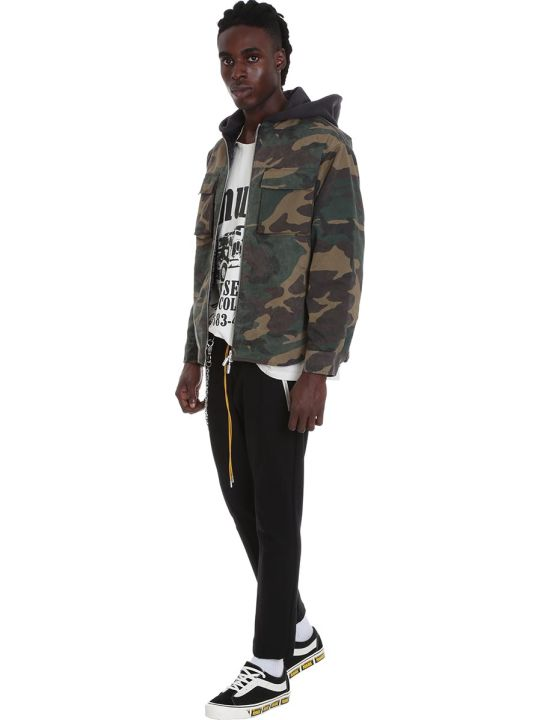 Rhude Quilted Cargo  Sweatshirt In Camouflage Cotton