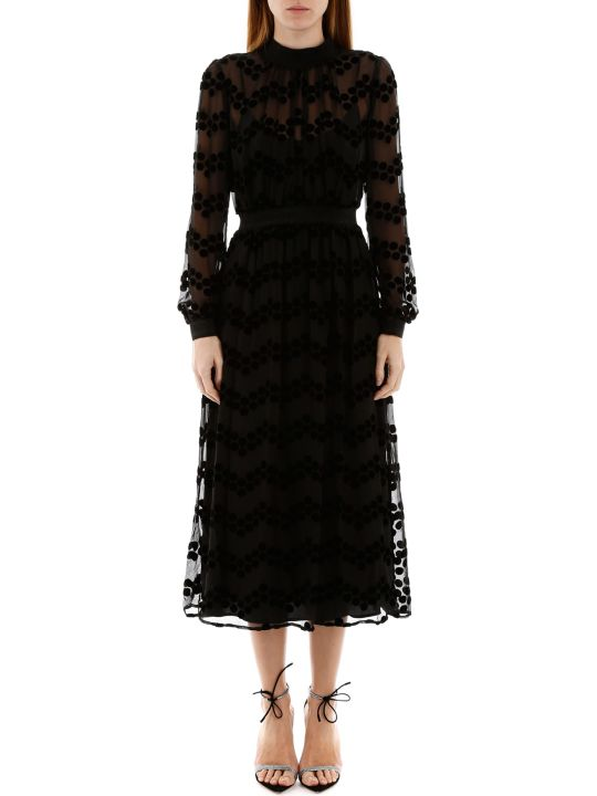 Tory Burch Midi Dress With Velvet Polka Dots