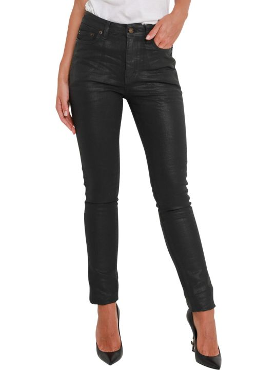 Saint Laurent Coated Denim Skinny Jeans
