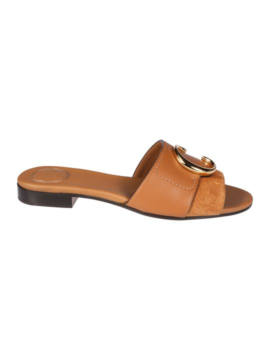 Chloé Logo Plaque Flat Sandals