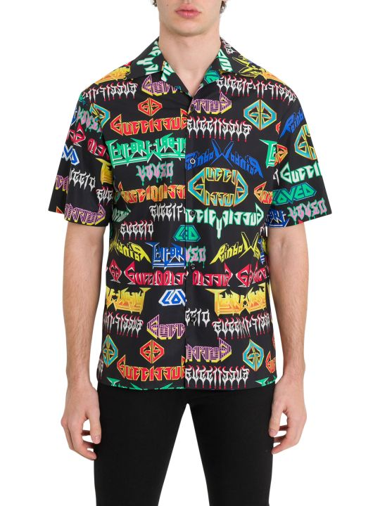 Gucci Metal Lettering Bowling Shirt