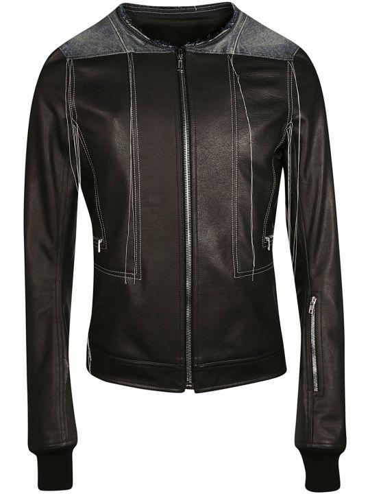 Rick Owens Contrast Stitch Leather Jacket