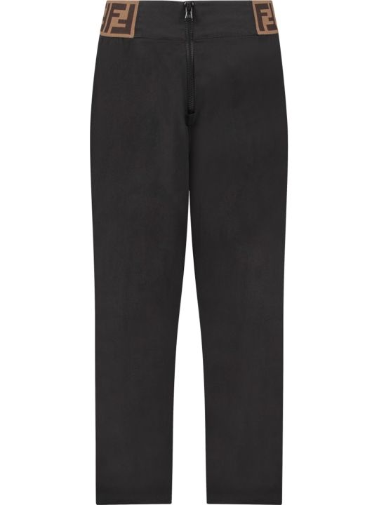 Fendi Black Girl Pants With Double Ff