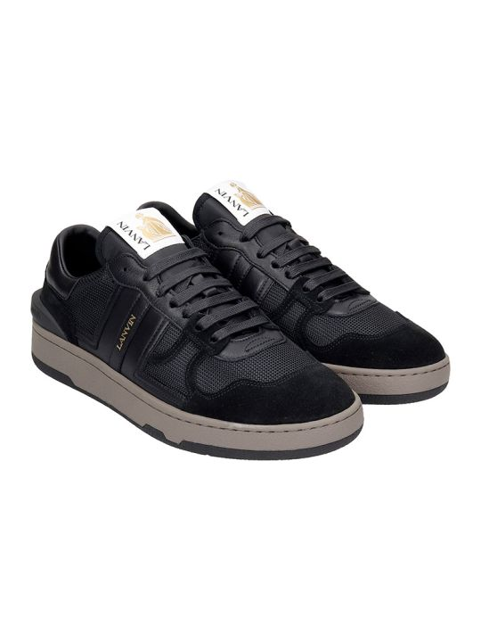 Lanvin Clay Sneakers In Black Leather And Fabric