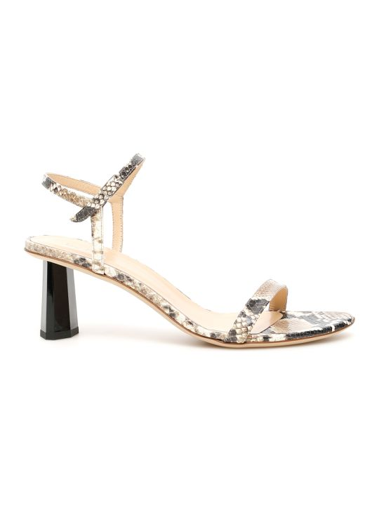 BY FAR Python Print Leather Magnolia Sandals