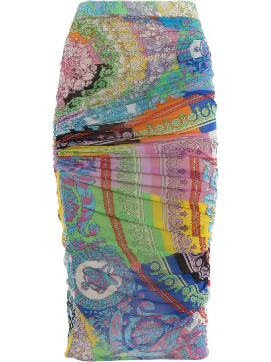 Versace Mixed Print Pencil Skirt