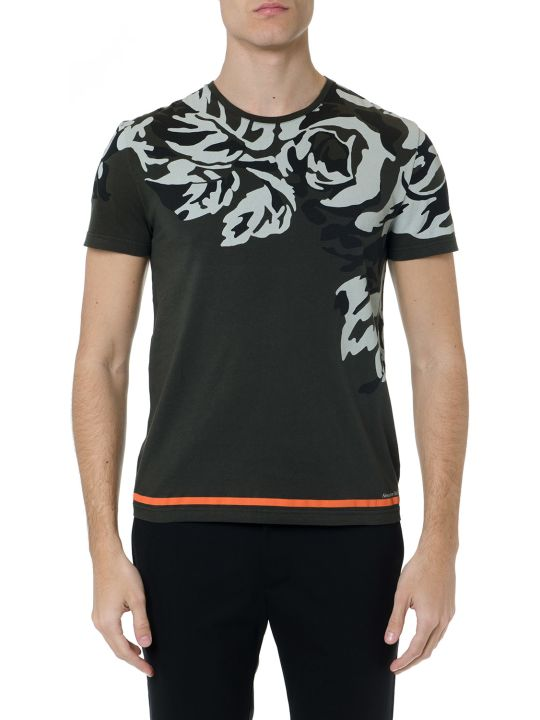 Alexander McQueen Green Cotton T Shirt With Camouflage Print
