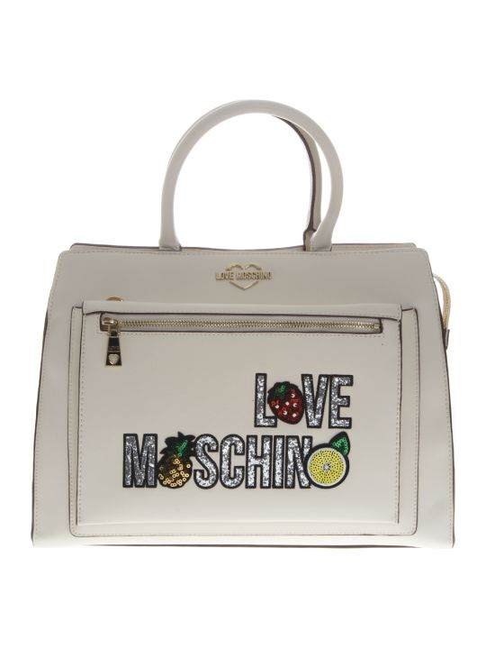 Love Moschino Ivory Embellished Faux Leather Tote Bag
