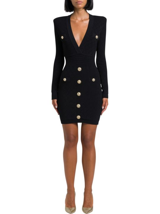 Balmain Jersey Dress With Golden Buttons