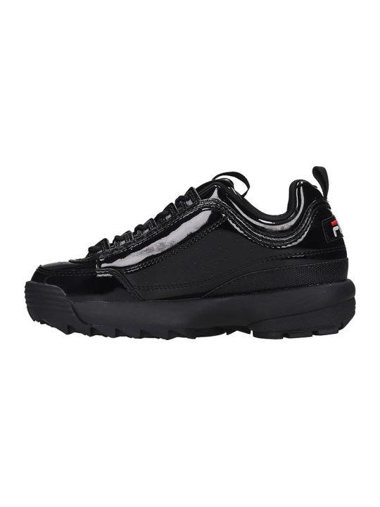 Fila Distruptor Low  Sneakers In Black Patent Leather