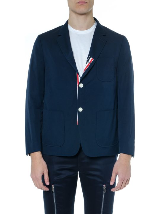 Thom Browne Blue Navy Wool Blend Blazer
