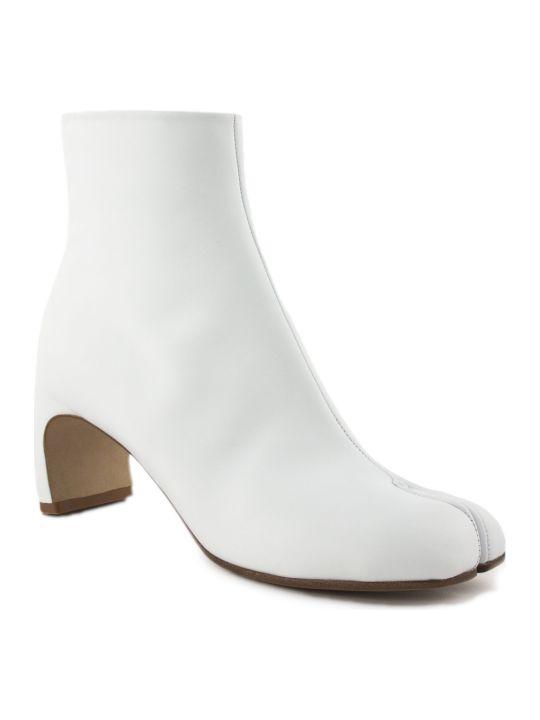 Maison Margiela White Leather Tabi Ankle Boots