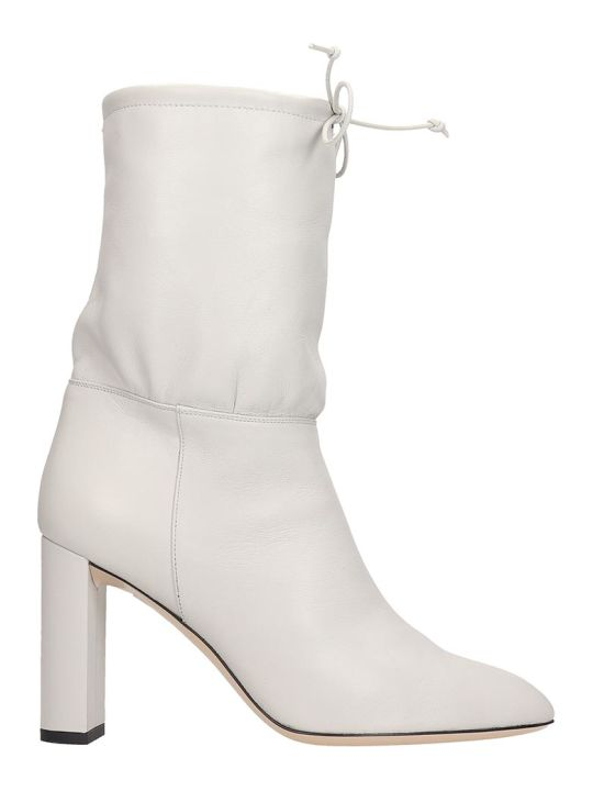 Dei Mille High Heels Ankle Boots In Grey Leather