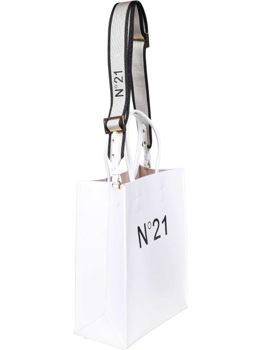 N.21 N ° 21 White Shopping Bag With Logo