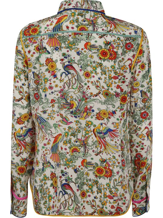 Tory Burch Contrast Binding Printed Shirt