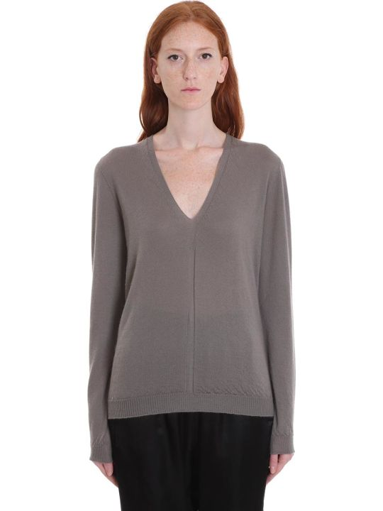 Rick Owens Soft V Neck Knitwear In Drk Dust Wool