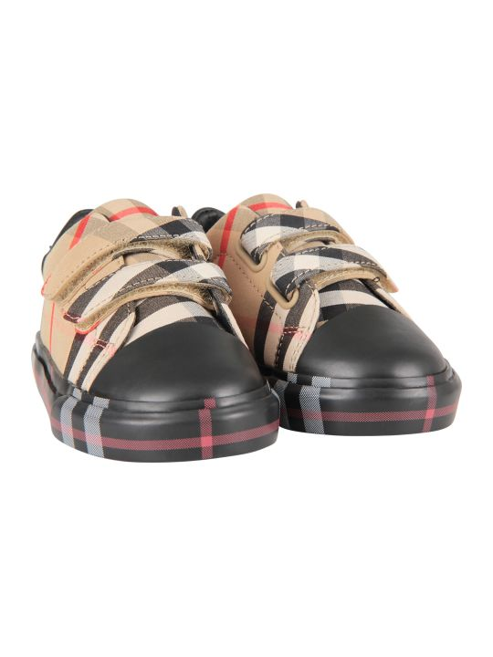 Burberry Black Babykids Sneaker With Check