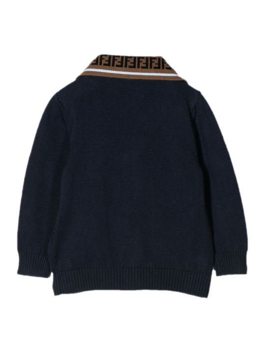 Fendi Navy Blue Cotton Cardigan
