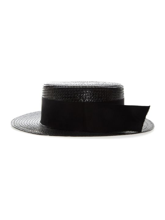 d99a09e5998 Saint Laurent Saint Laurent Small Boater Hat In Varnished Straw - Black -  10840170 | italist