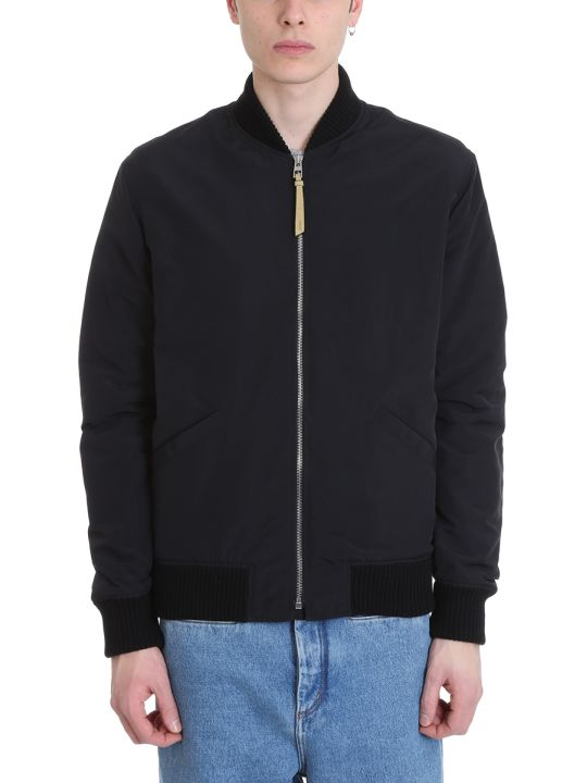 Loewe Bomber Black Nylon And Cotton Jacket