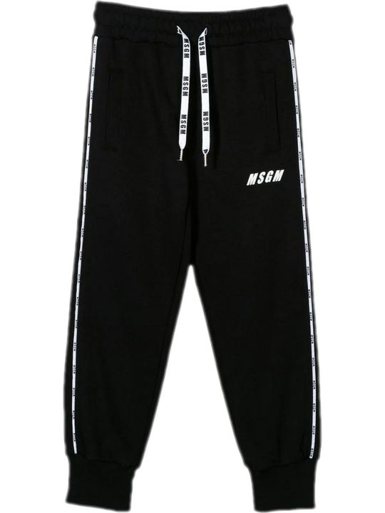 MSGM Black Cotton Track Pants
