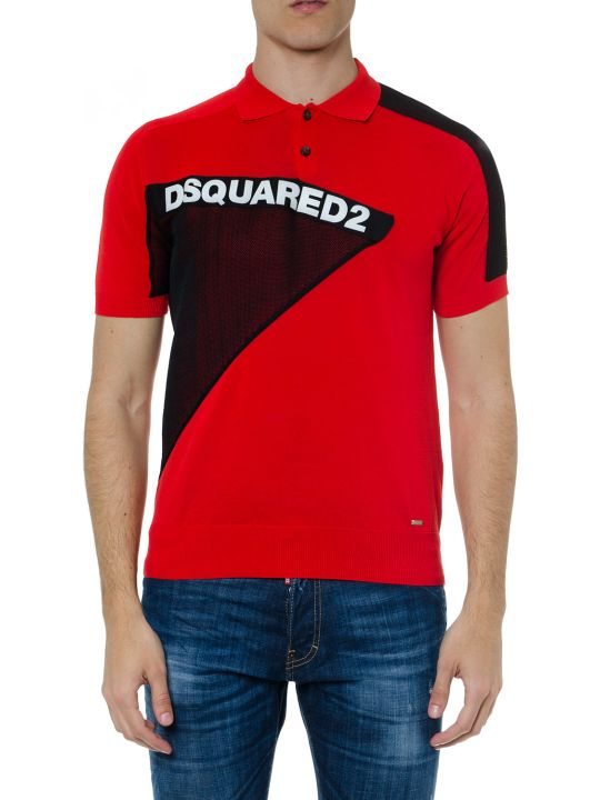 Dsquared2 Red & Black Cotton Polo Shirt With Logo