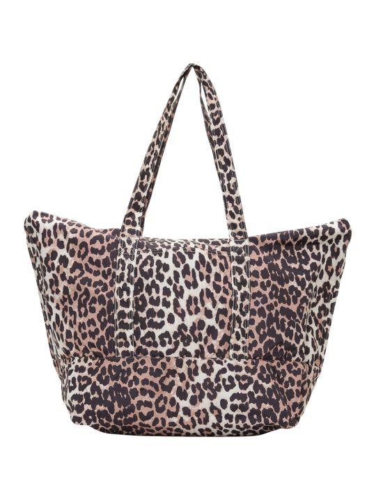 Ganni Fairmont Shopping Bag In Leopard Print