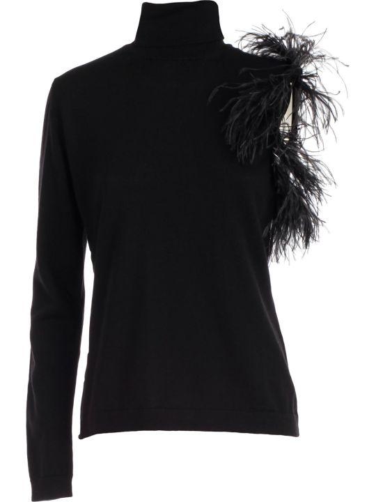 Parosh Sweater Turtle Neck Sleeve W/plumes