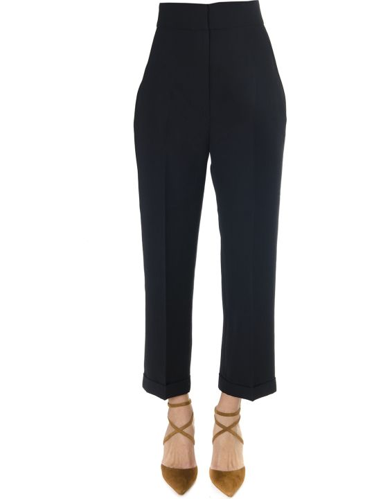 Jacquemus Black Cropped High Waisted Trousers In Wool Blend