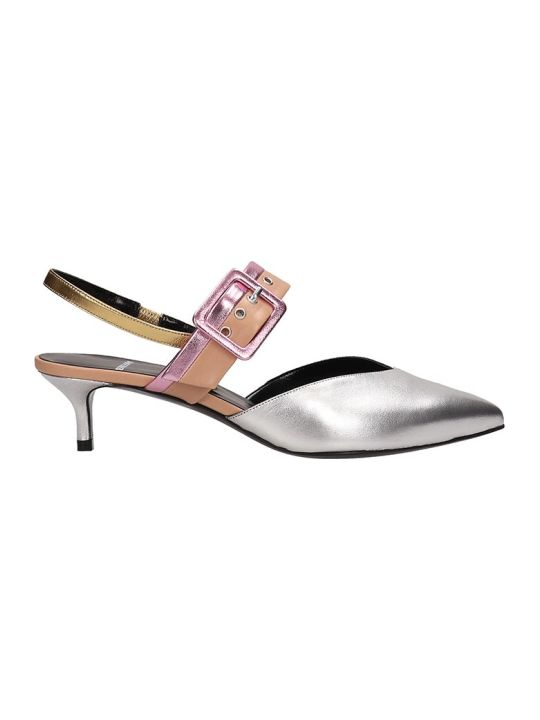 Pierre Hardy Silver Leather Alpha Sling Sandals