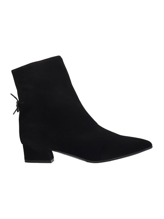 Fabio Rusconi Low Heels Ankle Boots In Black Suede