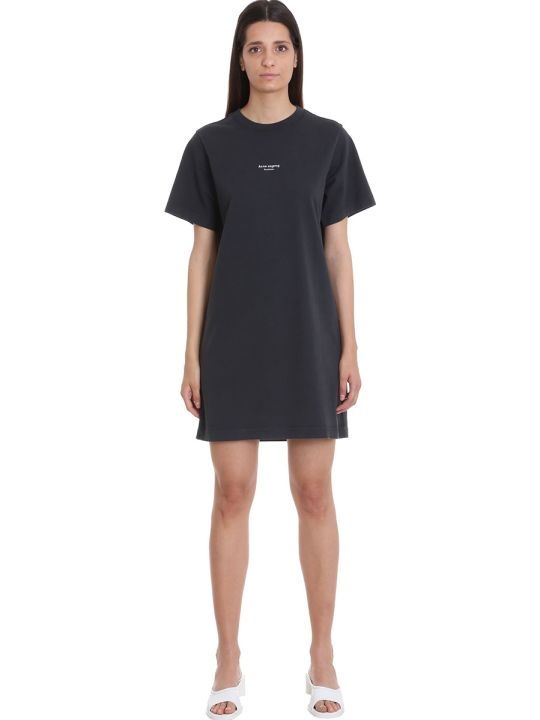 Acne Studios Elleni Stamp Dress In Black Cotton